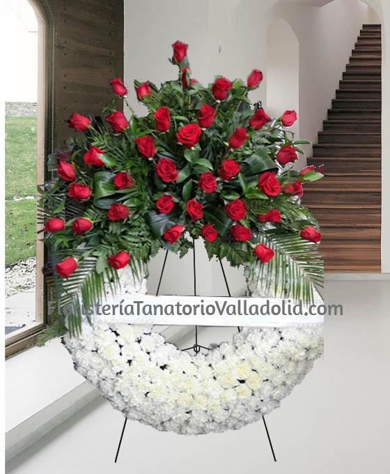 Corona Clavel Especial, Floristería Tanatorio Valladolid, Coronas de Flores para Tanatorio, Envío de Flores a Tanatorio, Corona fúnebre Entierro