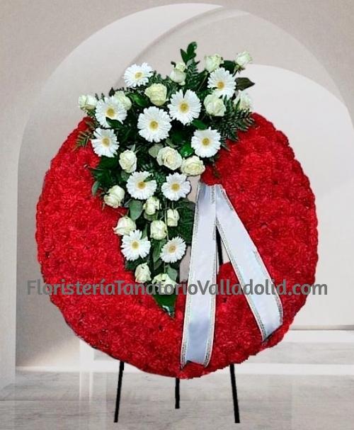 Corona funeraria roja y blanca para enviar al tanatorio urgente