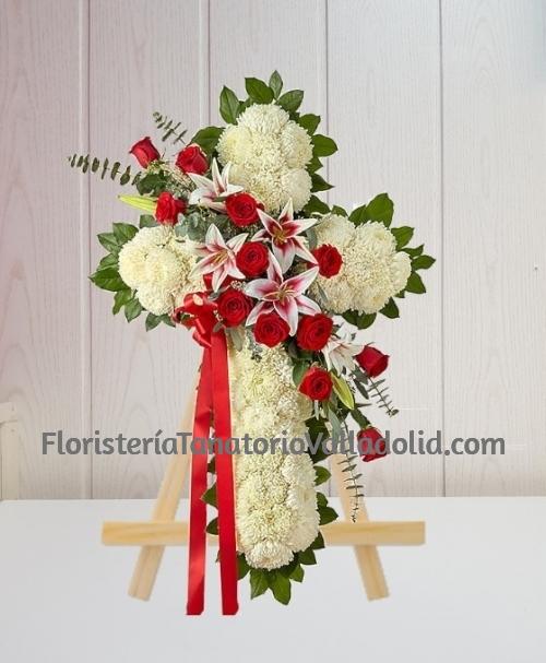 Cruz Funerario clavel y rosas especial para tanatorio