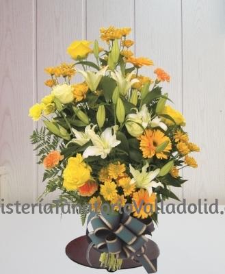 Ramo funerario tonos amarillos para tanatorio envio urgente