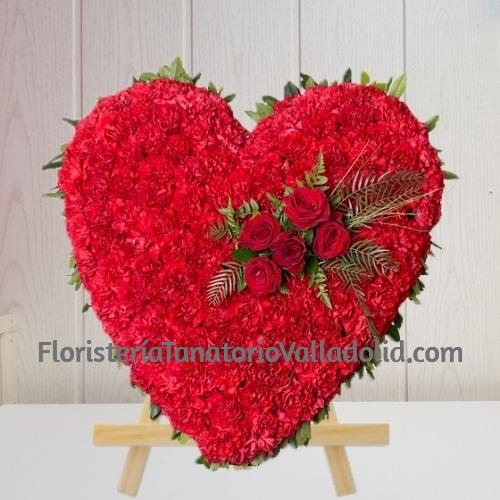 Corazon Funerario clavel Rojo para tanatorio