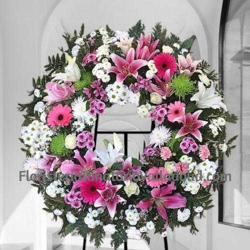 Corona Funeraria Flor Variada Rosa y blanca para tanatorios con envio urgente