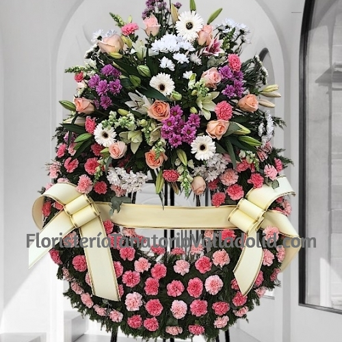 Corona difuntos clavel rosa para tanatorios envio urgente