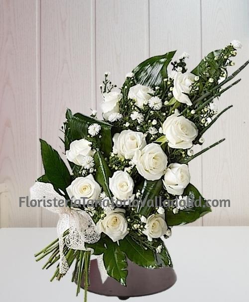 Ramo funerario 12 rosas blancas para tanatorio envio urgente